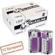 Батарейка D VS LR20/2SH Alkaline, термопленка, упаковка 12 шт