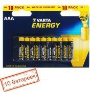 Батарейка AAA VARTA LR03/10BL Energy, щелочная, 10 шт, в блистере (4103)