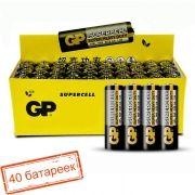 Батарейка AA GP Supercell R6/4SH, солевая, 40 шт, коробка (15S-OS4)