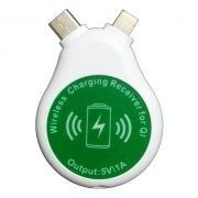 Универсальный приёмник Qi, USB Type C/Lightning/microUSB, белый, Dealfon (KP-WJC2)