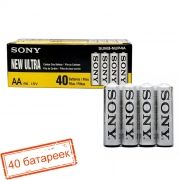 Батарейка AA SONY NEW Ultra R6-4SH, солевая, упаковка 40 шт