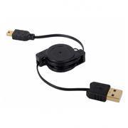 Кабель USB 2.0 Am=>mini B - 0.75 м, на рулетке, Konoos (KCR-USB2-AM5P-0.75)