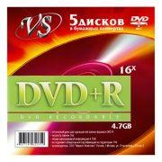 Диск DVD+R VS 4,7 Gb 16x в бумажном конверте, 5шт (VSDVDPRK501)
