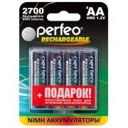 Аккумулятор AA Perfeo AA2700/4BL 2700мА/ч Ni-Mh, 4шт, блистер + BOX