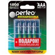 Аккумулятор AAA Perfeo AAA1000/4BL 1000мА/ч Ni-Mh, 4шт, блистер + BOX
