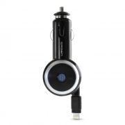 Зарядное автомобильное устройство CROWN CMDC-IP5-014, 1A, Ligtning, кабель-рулетка 70 см