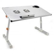 Раскладной портативный столик для ноутбука CROWN CMLS-101, 2 вентил., алюминий, серебристый