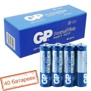 Батарейка AA GP PowerPlus R6/4SH, солевая, 40 шт, коробка (15CEBRA-2S4)