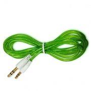 Кабель аудио 3.5 stereo plug -> 3.5 stereo plug, 1 м, зеленый, силикон, позолоченные разъемы