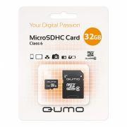 Карта памяти Micro SDHC 32Gb QUMO Class 6 + адаптер SD (QM32GMICSDHC6)