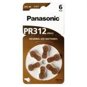 Батарейка Panasonic PR41, ZA312 для слуховых аппаратов, 6 шт, блистер