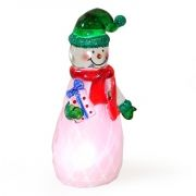 Сувенир ORIENT NY6002 Снеговичок - зеленый колпачок, с подсветкой, питание от USB