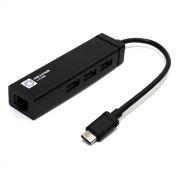 Адаптер USB 3.1 Type C - RJ45 1 Гбит/c + HUB 3 порта USB 3.0, 5bites (UA3C-45-05BK)