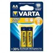 Батарейка AA VARTA LR6/2BL Long Life, щелочная, 2 шт, в блистере (4106)