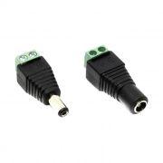 Комплект переходников питания DC(M) + DC(F), винтовые разъемы для кабеля, в пакете, ORIENT C662