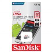 Карта памяти Micro SDHC 32Gb Sandisk Ultra Class 10 UHS-I, 80 Мб/с без адаптера (SDSQUNS-032G-GN3MN)