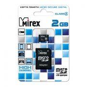 Карта памяти MicroSD 2 Gb Mirex + адаптер SD (13613-ADTMSD02)