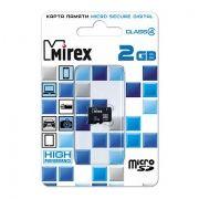 Карта памяти MicroSD 2 Gb Mirex без адаптера SD (13612-MCROSD02)
