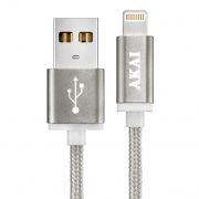 Кабель USB 2.0 Am=>Apple 8 pin Lightning, 1 м, 1.5А, тканевая оплётка, серебристый, AKAI CE-604S
