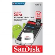 Карта памяти Micro SDXC 64Gb SanDisk Ultra Android Class 10 UHS-I, 80 Мб/с (SDSQUNS-064G-GN3MN)