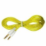 Кабель аудио 3.5 stereo plug -> 3.5 stereo plug, 1 м, желтый, силикон, позолоченные разъемы