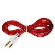 Кабель аудио 3.5 stereo plug -> 3.5 stereo plug, 1 м, красный, силикон, позолоченные разъемы
