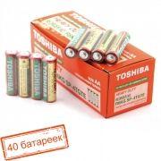 Батарейка AA Toshiba R6/4SH солевая, 40 шт, коробка