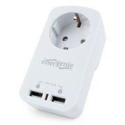 Сетевой фильтр Energenie EG-ACU2-01-W, белый, 1 розетка, 2 x USB