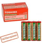 Батарейка AAA Toshiba R03/2SH солевая, 40 шт, коробка