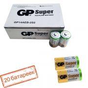 Батарейка C GP Super Alkaline LR14/2SH, 20 шт, коробка (GP 14A-OS2)