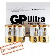 Батарейка D GP Ultra Alkaline LR20/2SH, 20 шт, коробка (GP 13AU-OS2)