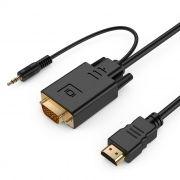 Кабель HDMI - VGA, 19M/15M + 3.5 audio, 3 м, позол. разъемы, черный, Cablexpert (A-HDMI-VGA-03-10)