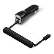 Зарядное автомобильное устройство Jet.A UC-C17, 12/24В 2.1А USB + USB Type C, черное