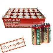 Батарейка C Toshiba R14/2SH, солевая, 24шт, коробка