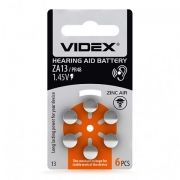 Батарейка VIDEX ZA13 для слуховых аппаратов, 6 шт, блистер