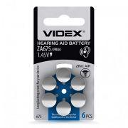 Батарейка VIDEX ZA675 для слуховых аппаратов, 6 шт, блистер