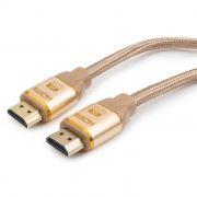 Кабель HDMI 19M-19M V1.4, 1.8 м, золотой, армированная оплетка, Cablexpert (CC-G-HDMI03-1.8M)