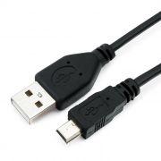 Кабель USB 2.0 Am=>mini B - 0.5 м, черный, Гарнизон (GCC-USB2-AM5P-0.5M)