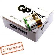 Батарейка D GP Super Alkaline LR20, щелочная, 20 шт, коробка (13A-OS2)