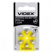Батарейка VIDEX ZA10 для слуховых аппаратов, 6 шт, блистер