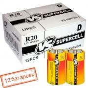 Батарейка D VS R20/2SH Supercell, солевая, термопленка, упаковка 12 шт