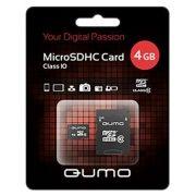 Карта памяти Micro SDHC 4Gb QUMO Class 10 + адаптер SD (QM4GMICSDHC10)