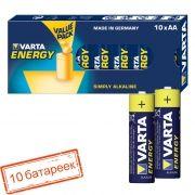 Батарейка AA VARTA LR6/10BOX Energy, щелочная, 10 шт, коробка (4106)