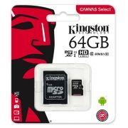 Карта памяти Micro SDXC 64Gb Kingston Class 10 Canvas Select UHS-I U1, 80 Мб/с + адапт. SD(SDCS/64GB