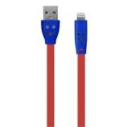 Кабель USB 2.0 Am=>Apple 8 pin Lightning, 1 м, плоский, подсветка коннектора, красный, Oxion DCC019