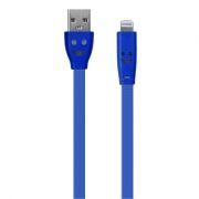 Кабель USB 2.0 Am=>Apple 8 pin Lightning, 1 м, плоский, подсветка коннектора, синий, Oxion DCC019BL