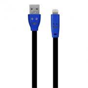 Кабель USB 2.0 Am=>Apple 8 pin Lightning, 1 м, плоский, подсветка коннектора, черный, Oxion DCC019BK