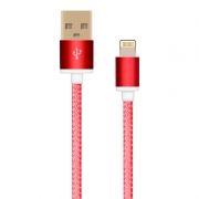 Кабель USB 2.0 Am=>Apple 8 pin Lightning, 1.5 м, ткан. оплетка, метал. разъем, красный, Oxion DCC025