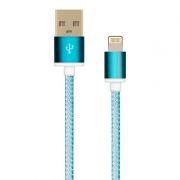 Кабель USB 2.0 Am=>Apple 8 pin Lightning, 1.5 м, ткан. оплетка, метал. разъем, синий, Oxion DCC025BL
