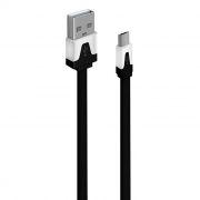 Кабель USB 2.0 Am=>micro B - 1.0 м, плоский, черный, Oxion DCC328BK
